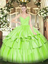 Spaghetti Straps Sleeveless Ball Gown Prom Dress Floor Length Ruffled Layers Taffeta