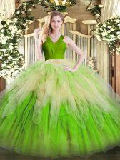 Gorgeous V-neck Sleeveless Organza Sweet 16 Quinceanera Dress Ruffles Zipper