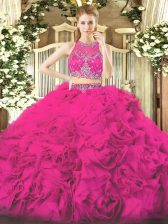 Fabric With Rolling Flowers Sleeveless Floor Length Quinceanera Gowns and Beading