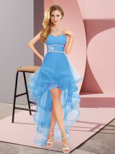 Affordable Beading Quinceanera Court of Honor Dress Baby Blue Lace Up Sleeveless High Low