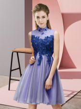 High Class Lavender Sleeveless Appliques Knee Length Quinceanera Dama Dress