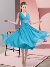 Sleeveless Side Zipper Knee Length Beading Dama Dress for Quinceanera