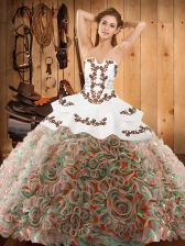 New Arrival Embroidery Ball Gown Prom Dress Multi-color Lace Up Sleeveless With Train Sweep Train