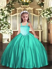 Turquoise Ball Gowns Satin Straps Sleeveless Appliques Floor Length Lace Up Kids Formal Wear