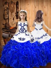 Luxurious Sleeveless Lace Up Floor Length Embroidery and Ruffles Pageant Dress Toddler