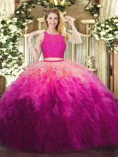 Simple Fuchsia Sleeveless Lace and Ruffles Floor Length Sweet 16 Dresses