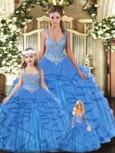 Colorful Aqua Blue Tulle Lace Up Vestidos de Quinceanera Sleeveless Floor Length Beading and Ruffles