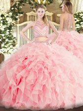 Baby Pink Two Pieces Beading and Ruffles Quinceanera Dress Zipper Tulle Sleeveless Floor Length