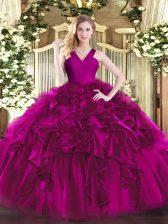 Fuchsia Ball Gowns V-neck Sleeveless Organza Floor Length Zipper Ruffles Sweet 16 Dresses