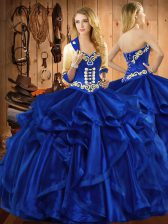 Royal Blue Ball Gowns Organza Sweetheart Sleeveless Embroidery and Ruffles Floor Length Lace Up Ball Gown Prom Dress