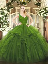 Ball Gowns Quinceanera Gown Olive Green V-neck Organza Sleeveless Floor Length Backless