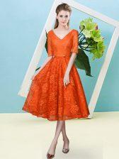 Super Lace Half Sleeves Tea Length Dama Dress and Bowknot