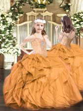 Floor Length Orange Red Pageant Dresses Off The Shoulder Sleeveless Lace Up