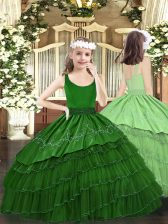Beautiful Dark Green Scoop Neckline Beading and Embroidery and Ruffled Layers Little Girls Pageant Dress Wholesale Sleeveless Zipper