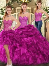 Colorful Fuchsia Sweetheart Neckline Beading and Ruffles Quince Ball Gowns Sleeveless Lace Up