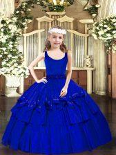 Royal Blue Sleeveless Beading Floor Length Kids Pageant Dress