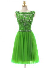 High Quality Sleeveless Tulle Mini Length Zipper Prom Evening Gown in with Beading