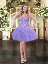 Glamorous Lavender Ball Gowns Organza Sweetheart Sleeveless Appliques and Ruffles and Pick Ups Mini Length Lace Up Prom Party Dress