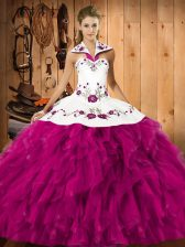 Fuchsia Satin and Organza Lace Up Quinceanera Dress Sleeveless Floor Length Embroidery and Ruffles