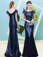 Fabulous Navy Blue Mermaid Scoop Cap Sleeves Sequined Floor Length Zipper Sequins Prom Gown