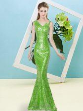 New Style Mermaid Sequined Asymmetric Sleeveless Sequins Floor Length Zipper Prom Dress