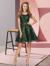 Sleeveless Mini Length Sequins Zipper Damas Dress with Olive Green