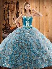 Super Multi-color Ball Gowns Satin and Fabric With Rolling Flowers Sweetheart Sleeveless Embroidery With Train Lace Up 15th Birthday Dress Sweep Train