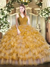 Sleeveless Organza Floor Length Zipper Quinceanera Dress in Brown with Ruffled Layers