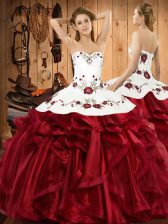 Sweetheart Sleeveless Organza Sweet 16 Dresses Embroidery and Ruffles Lace Up