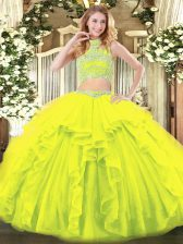 Pretty Floor Length Yellow Green Quinceanera Dresses Tulle Sleeveless Beading and Ruffles
