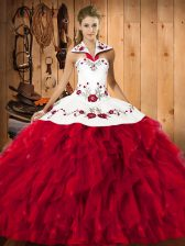 Red Sleeveless Satin and Organza Lace Up Quinceanera Dresses for Military Ball and Sweet 16 and Quinceanera