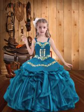 Most Popular Floor Length Lace Up Child Pageant Dress Teal for Party and Quinceanera and Wedding Party with Embroidery and Ruffles