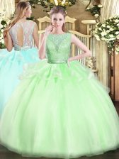 Ball Gowns Lace Quince Ball Gowns Backless Organza Sleeveless Floor Length