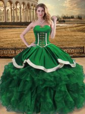 Stunning Organza Sweetheart Sleeveless Lace Up Beading and Ruffles Vestidos de Quinceanera in Green