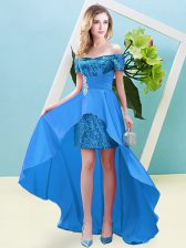 Baby Blue Empire Off The Shoulder Short Sleeves Elastic Woven Satin and Sequined High Low Lace Up Beading Dress for Prom