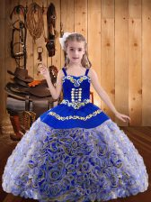 Sleeveless Embroidery and Ruffles Lace Up Pageant Gowns