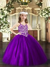 Glorious Straps Sleeveless Tulle Girls Pageant Dresses Beading Lace Up