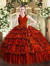 Colorful Rust Red Sweet 16 Dress Military Ball and Sweet 16 and Quinceanera with Ruffled Layers V-neck Sleeveless Zipper