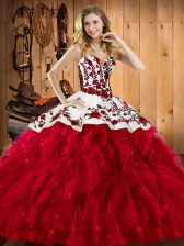 Wine Red Ball Gowns Embroidery and Ruffles 15th Birthday Dress Lace Up Satin and Organza Sleeveless Floor Length