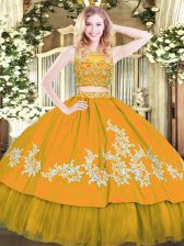 Flare Gold Two Pieces Tulle Scoop Sleeveless Beading and Appliques Floor Length Zipper Sweet 16 Dress