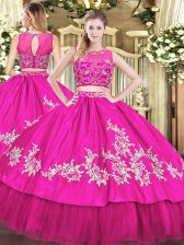 Trendy Beading and Appliques Quinceanera Gowns Hot Pink Zipper Sleeveless Floor Length