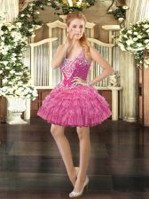Luxury Rose Pink Ball Gowns Beading and Ruffled Layers and Pick Ups Prom Party Dress Lace Up Organza Sleeveless Mini Length