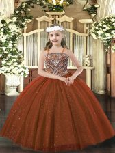 Pretty Floor Length Lace Up Girls Pageant Dresses Rust Red for Party and Quinceanera with Beading