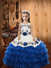 Classical Straps Sleeveless Lace Up Pageant Gowns Blue Organza