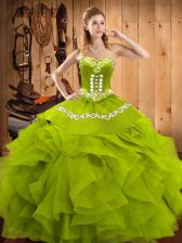 Sleeveless Floor Length Embroidery and Ruffles Lace Up Sweet 16 Dress with Olive Green