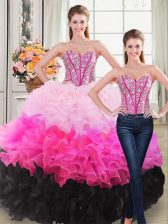 Charming Multi-color Quinceanera Dresses Sweet 16 and Quinceanera with Beading and Ruffles Sweetheart Sleeveless Lace Up