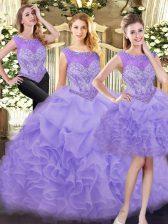 Traditional Lavender Zipper 15 Quinceanera Dress Beading and Ruffles Sleeveless Floor Length