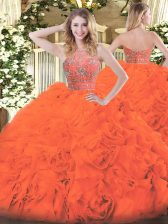Fashionable Sleeveless Tulle Floor Length Zipper Sweet 16 Dress in Orange Red with Beading and Ruffles