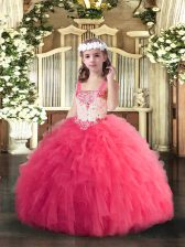 Hot Pink Lace Up Little Girls Pageant Dress Beading and Ruffles Sleeveless Floor Length