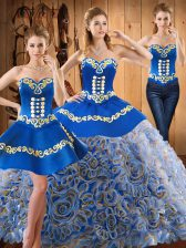 Elegant Multi-color Satin and Fabric With Rolling Flowers Lace Up Vestidos de Quinceanera Sleeveless With Train Sweep Train Embroidery
